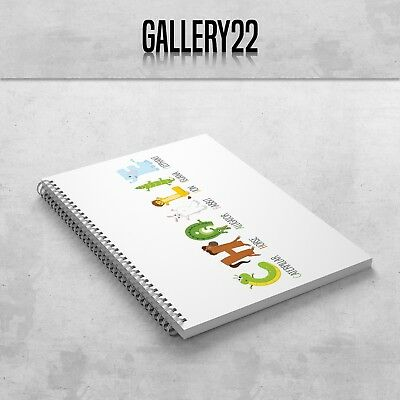 Personalised Notebook Name And Animals A5 Gift Stationery Children School • 7.99£