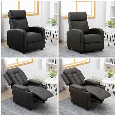 Recliner Armchair Leather Sofa Single Padded Seat Family Cinema Home Leg Rest   • 159.99£