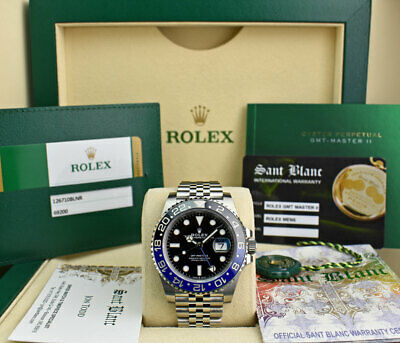 $ CDN22493.90 • Buy ROLEX Stainless GMT Master II Blue Black Batman CARD 126710 BLNR SANT BLANC
