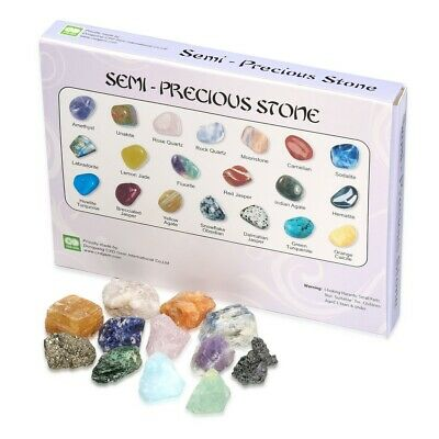 £11.99 • Buy 12 Mixed Rough Raw Crystal Mineral Specimen Rock Stones Geology Learning Kit Set