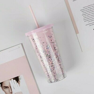 $11.99 • Buy 20oz Clear Glitter Tumbler Mug Insulated PINK Double Wall Tumbler Cup Straw