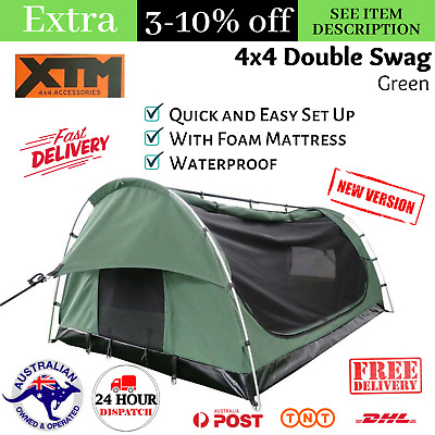 AU279 • Buy Double Swag With Mattress Tent 2 Man Waterproof Camping Hiking Canvas 4x4 Swag