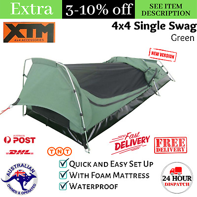 AU210 • Buy Single Swag With Mattress 1 Man Tent Waterproof Camping Hiking 4x4 Canvas Swags