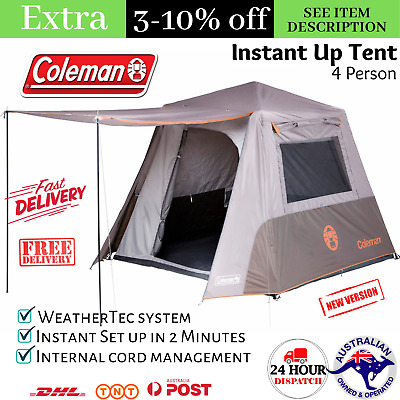 AU300 • Buy 4 Person Tent Instant Up Family Camping Hiking Beach Canvas 4 Man Shade Shelter