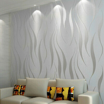 10m 3D Damask Sliver Wave Wallpaper Roll Home Decor Silver Grey Wall Paper Rolls • 9.99£