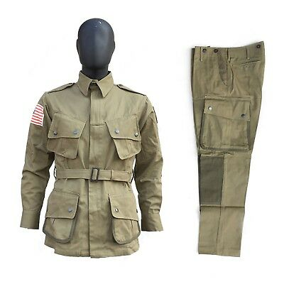 $89 • Buy WWII US Army Airborne Paratrooper M42 Field Jacket Trousers SET Size 40R/S