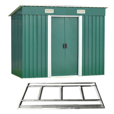 New 8x4ft Garden Shed Metal Pent Roof Outdoor Tool Bike Storage With Free Base • 249.99£