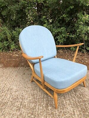 Ercol 203 Windsor Armchair . Refurbished , Ex Condition. New Blue Fabric Covers  • 475£