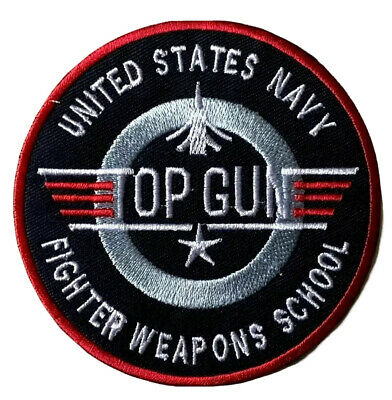 £2.39 • Buy Top Gun Patch Embroidered Iron / Sew On Badge Navy Air Force Fancy Dress Costume