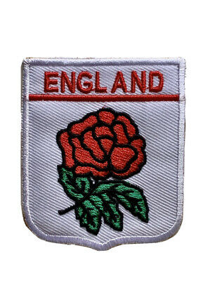 ENGLAND English St George's Cross Flag Flower Iron On Embroidered Patch • 1.99£