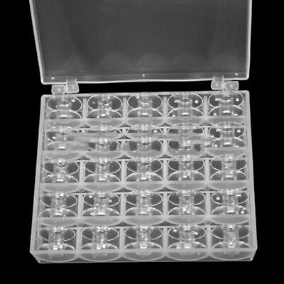 25 Clear Bobbins For Sewing Singer Plastic Spool Box Machine Brother Janome • 2.98£