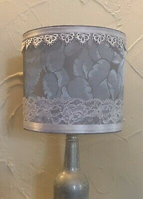 20cm Handmade Lampshade. Silver Grey / White Braid And Lace Trim • 24.50£