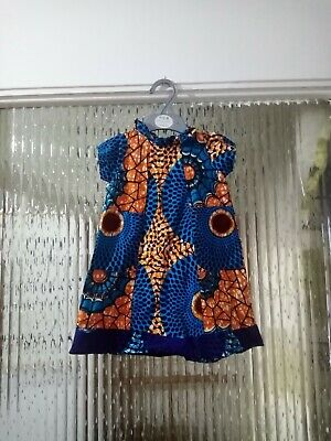 Preowened Sleeveless Girls African Handmade Dress For All Occasions Size 3-5 Yr • 14.99£