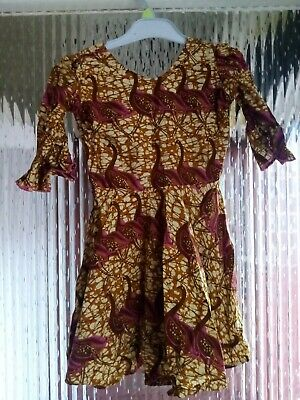 Preowened Girls African Handmade  Summer Dress With Flare Detail Age10-12 Years  • 16.99£