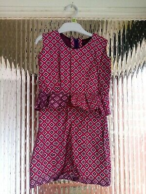 Preowened Girls African Handmade Dress With A Detailed Front Casual 6 - 8 Years  • 15.99£