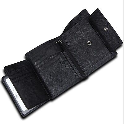 AU28.50 • Buy Men's Genuine Leather Trifold Wallet RFID Anti Scan Zip Coin Card Money Purse