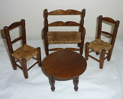 Vintage Spanish Large Dolls House Furniture. Rustic Table, Bench And Chairs • 35£
