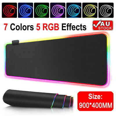 AU24.99 • Buy RGB LED Gaming Mouse Pad Desk Mat Extended Size Anti-slip Rubber Speed Mousepad