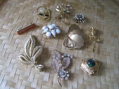 $ CDN40 • Buy JEWELRY LOT BEAUTIFUL 10 Piece Vtg Costume Variety Of Gold Tone BROOCHES