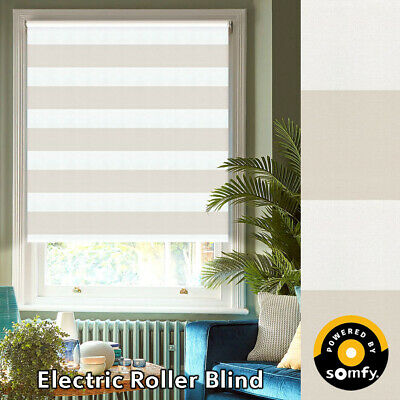 Cream Beige Sierra Stripe Blackout Electric Roller Blinds Made Using Somfy Motor • 153.49£