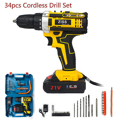 View Details 21-Volt Drill 2 Speed Electric Cordless Drill / Driver With Bits Set & Battery • 39.98$