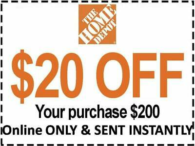 $0.99 • Buy ONE 1X Home Depot Coupon $20 OFF $200 [[Online Use ONLY]] -Very_Fast_Sent_1Sec~~