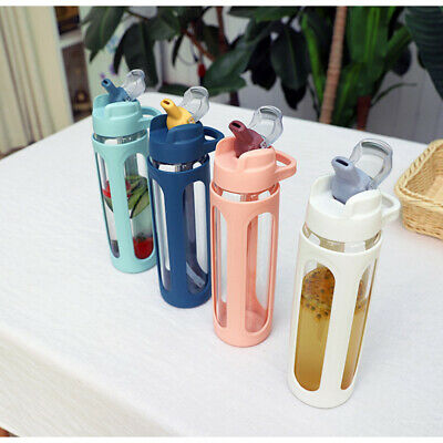 Water Bottle With Straw Glass BPA Free Leakproof Sports Portable Drinks Mugs • 15.99£