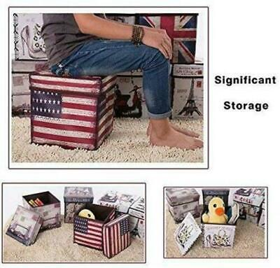 Folding Storage Ottoman Seat Stool Storage Boxes Home Chair Footstool Bench Lid • 11.99£
