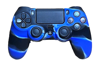 AU8.90 • Buy Silicone Cover For PS4 Controller Case Skin - Black/Blue Swirls