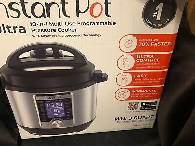 $71.44 • Buy Instant Pot Ultra Mini 10-in-1 Electric Slow Pressure Cooker 3 Quart With BOX