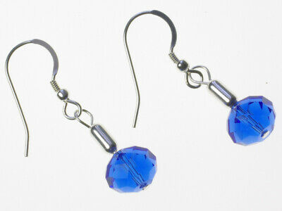 $ CDN23.86 • Buy Lilith Sterling Silver Blue Facet Crystal Glass Drop Earrings - Made UK
