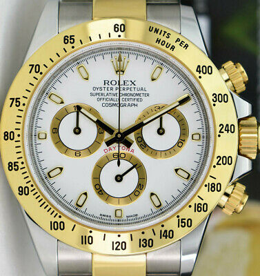 $ CDN19495.91 • Buy ROLEX Mens 18kt Gold Stainless DAYTONA White Index Fat Buckle 116523 SANT BLANC