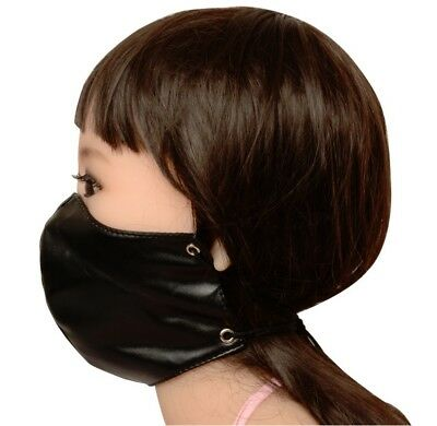 PVC Leather Wet Look Dungeon Restraint Mask Mouth Nose Yoke Head Hood Ball Gag • 8.99£