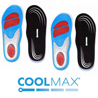 COOLMAX® 2 PAIRS Womens Mens Shoe Gel Arch Support Insoles Work Boots Size 7 8 9 • 3.99£
