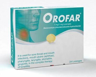NOVARTIS OROFAR 24 Lozenges - SORE THROAT ANGINA ULCERS MOUTH INFECTIONS • 8.50£