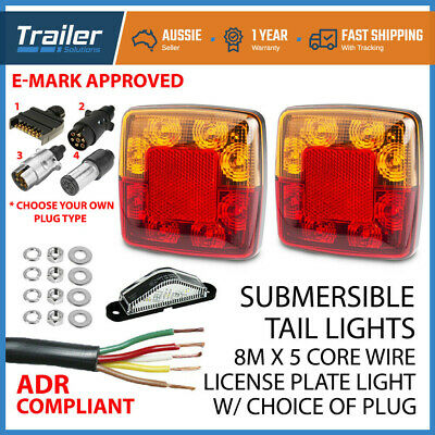 AU44.41 • Buy 2 X 8 LED TRAILER LIGHT KIT No. Plate Light, Plug, Cable, Boat Submersible