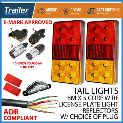 AU44.95 • Buy TRAILER LIGHT KIT PAIR 12-24v LED LIGHT,1 X PLUG, 5 CORE WIRE,NUMBER PLATE LIGHT