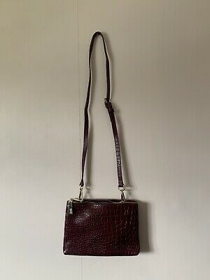 New Hobbs Small Shoulder Clutch Bag Crocodile Burgundy • 39.99£