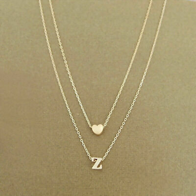 £3.79 • Buy Silver Gold Multi Layer Love Heart Initial Letter Chain Valentines Day Necklace