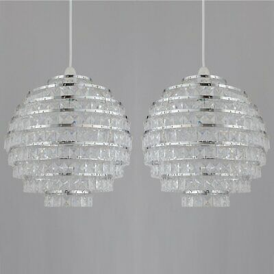Set Of 2 Clear Acrylic Crystal Jewelled Globe 30cm Easy Fit Ceiling Light Shades • 32.99£