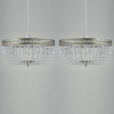 Set Of 2 Antique Brass Acrylic Crystal Modern Deco Easy Fit Ceiling Light Shade • 25.99£