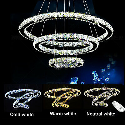 Modern LED Crystal Chandelier Ceiling Light Pendant Lamp 1 2 3 4 Ring Dimmable • 86.77£