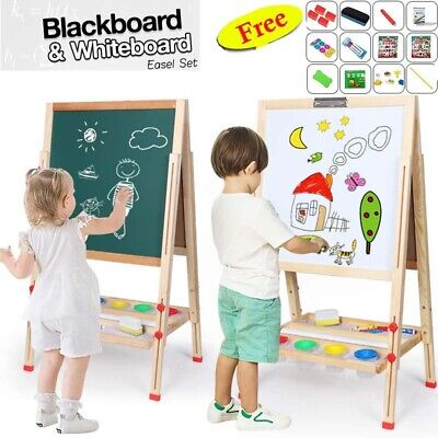 Kid's Easel Wooden Art Easel Double-Sided Height Adjustable Painting Blackboard • 34.16£