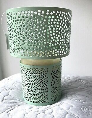 Yankee Candle Metal Barrel Shade & Large Jar Holder Set Mint Green New With Tags • 21.99£