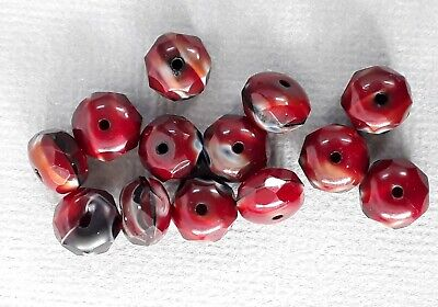 AU4.99 • Buy 13 Gorgeous Rondelle Red Czech Beads 8x6mm. Beautiful High Quality Beads!