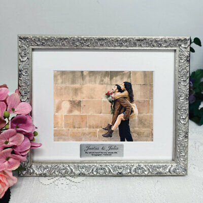 AU55 • Buy Engagement Personalised Silver Photo Frame Louvre 5x7 - Custom Engagement Gift