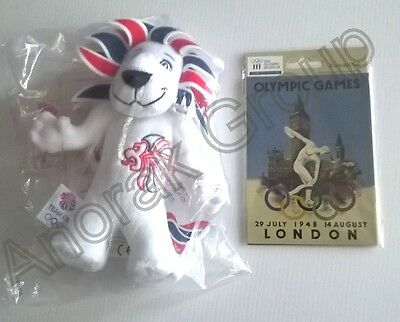 OFFICIAL OLYMPICS Team GB 2012 Lion Mascot Doll + Museum 1948 Postcard Set NEW • 18.88£