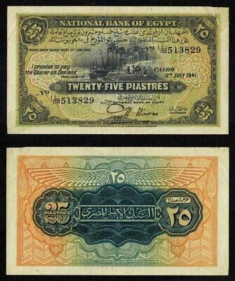 $59.99 • Buy Nice 1941 National Bank Of Egypt 25 Piastres P #10c Nixon Signature Apparent XF+