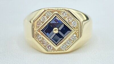 AU1162.49 • Buy 1.00 Ct NATURAL DIAMOND & Sapphire Mens Pinky Ring SOLID 14K Yellow Gold (VIDEO)
