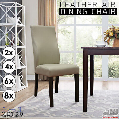 AU1777 • Buy New Luxury Leather Air Beige Dining Chair With Solid Dark Wooden Legs
